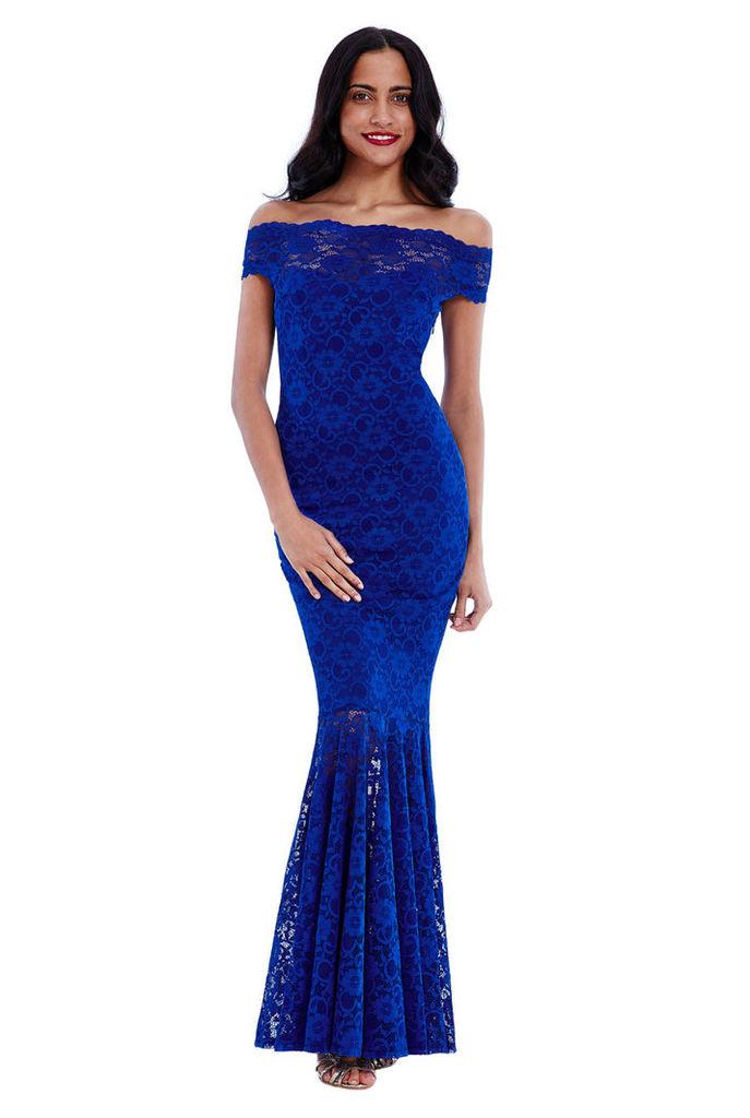 Bardot Lace Maxi Dress - Royalblue