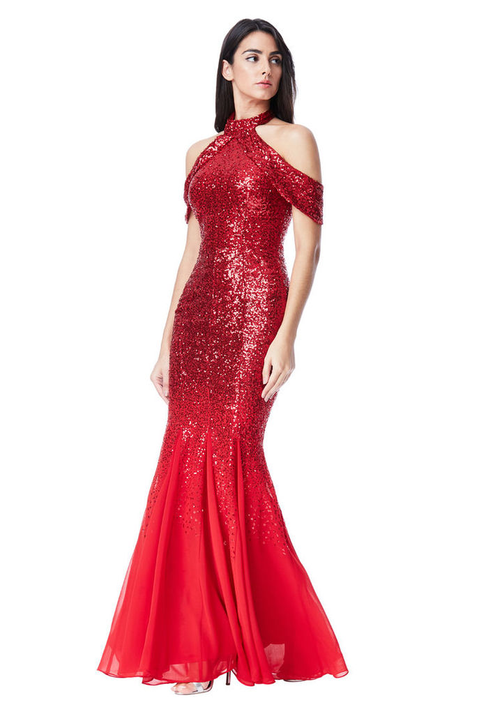 Cut Out Sequin and Chiffon Maxi Dress - Red