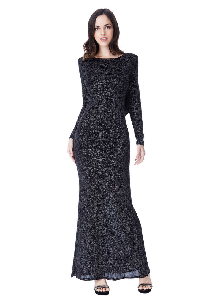 Glitter Cowl Back Maxi Dress with Sleeves - Black