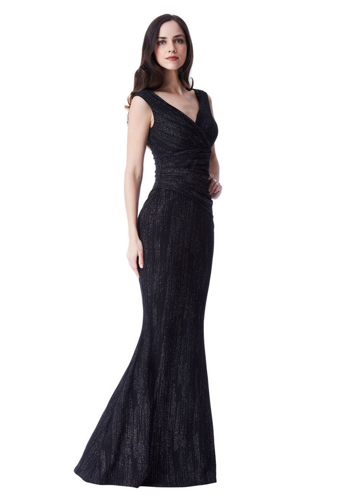 Glitter Maxi Dress with Pleated Waist - Black