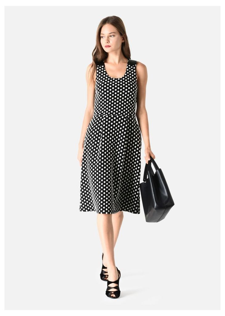 OFFICIAL STORE EMPORIO ARMANI THICK COTTON POLKA DOT DRESS