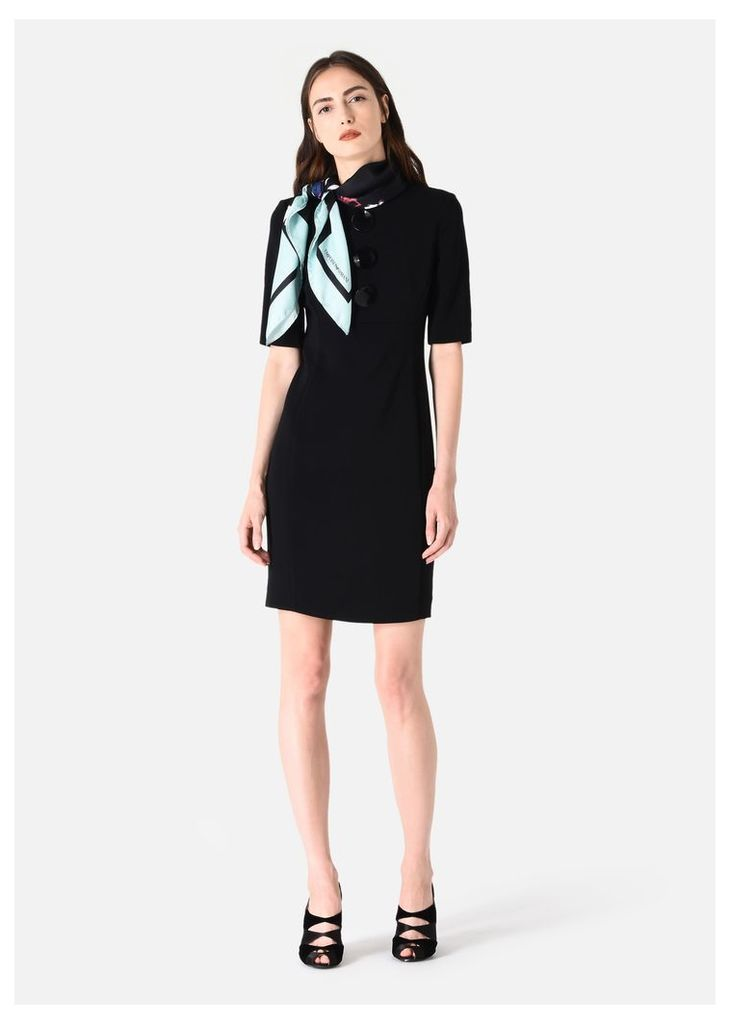 OFFICIAL STORE EMPORIO ARMANI STRETCH TRICOTINE SHEATH DRESS WITH DECORATIVE BUTTONS