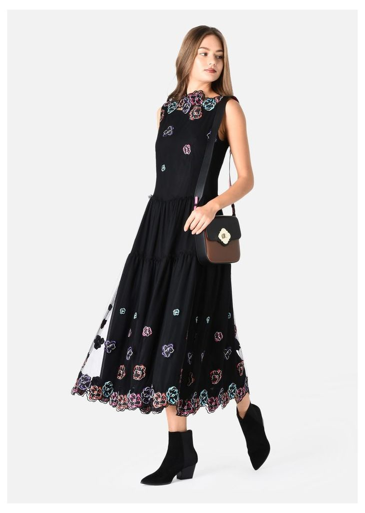 OFFICIAL STORE EMPORIO ARMANI LONG CREW NECK DRESS IN TULLE WITH FLORAL EMBROIDERY
