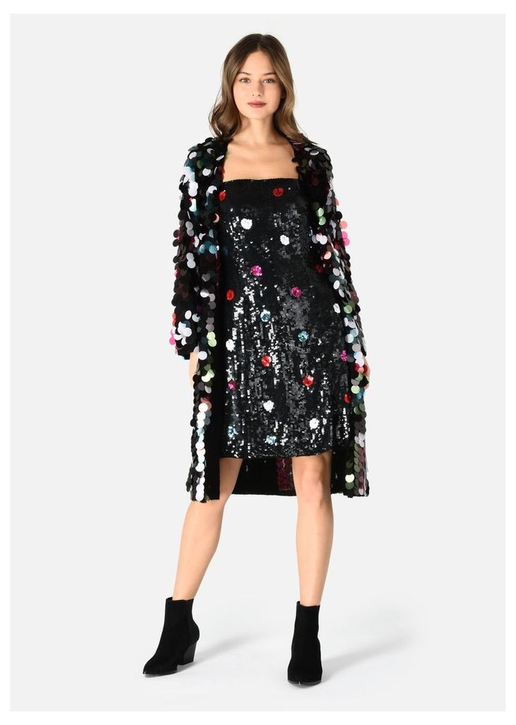 OFFICIAL STORE EMPORIO ARMANI ORGANZA DRESS WITH POLKA DOT EMBROIDERY AND SEQUINS