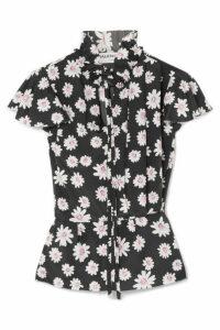 Balenciaga - Floral-print Satin Top - Black