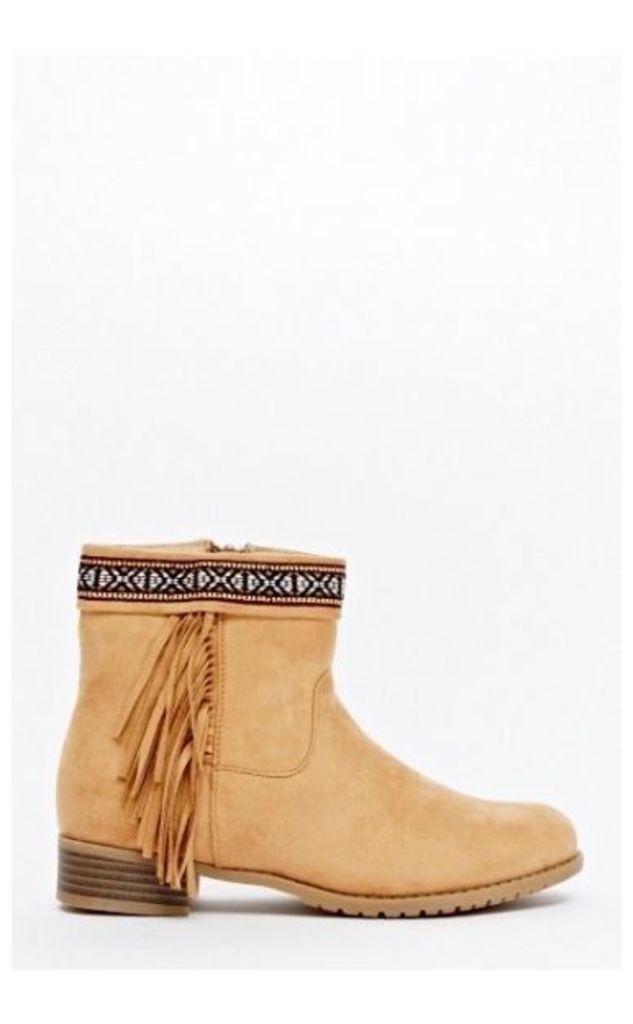 Tokyo Camel Suede Aztec Fringe Ankle Boots