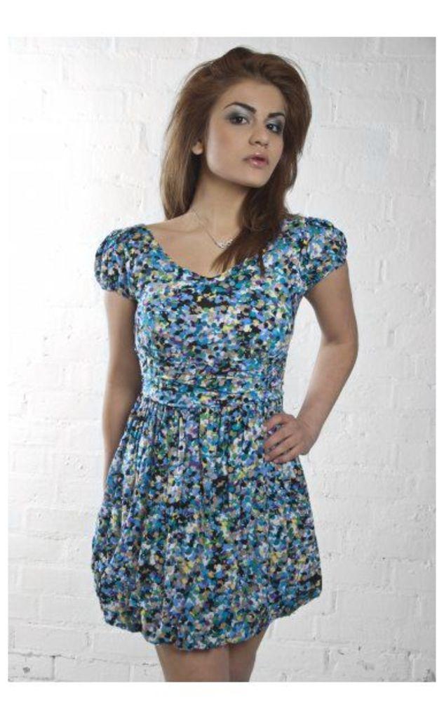 Anna Dotty Dress In Blue