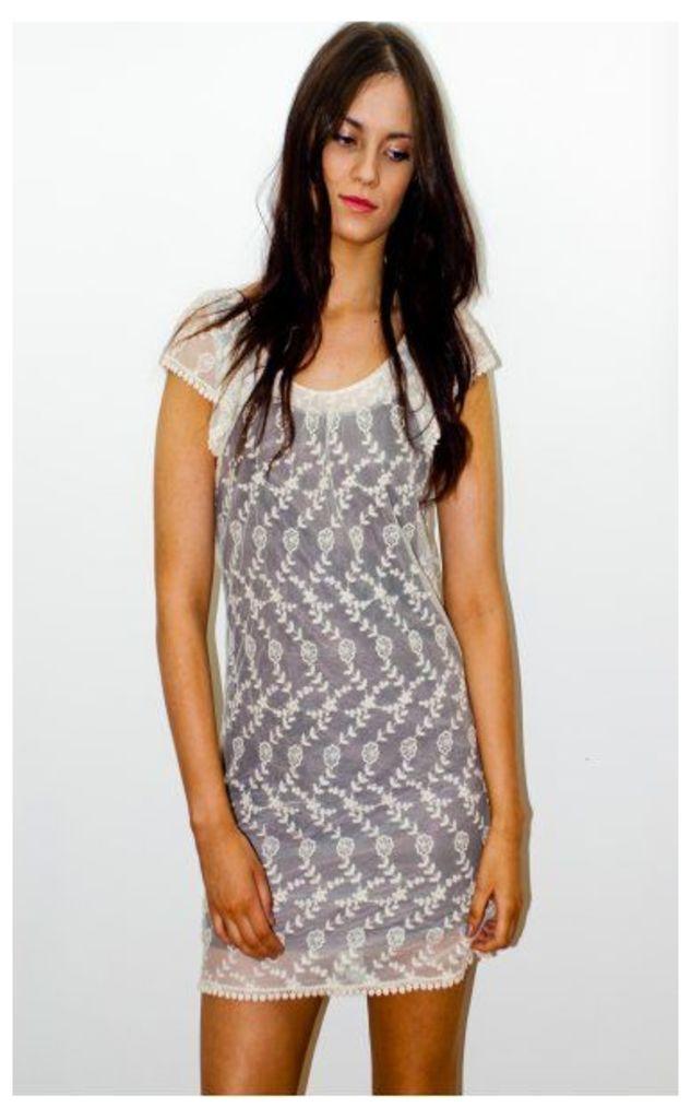 Kerry Lace Mini Dress In Cream