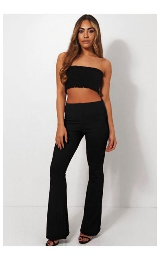 Skinny Rib Black Flared Trousers