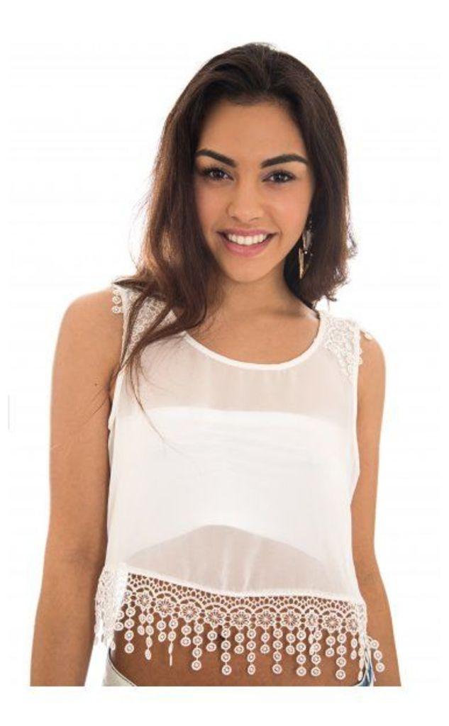 Lace Trim Crop Top In White