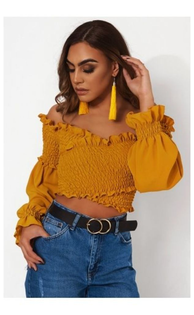 Liana Mustard Cross Front Bardot Top