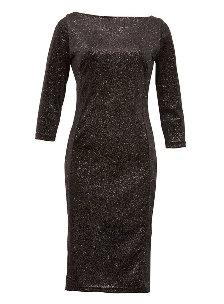 Womens *Feverfish Black Glitter Bodycon Dress- Black