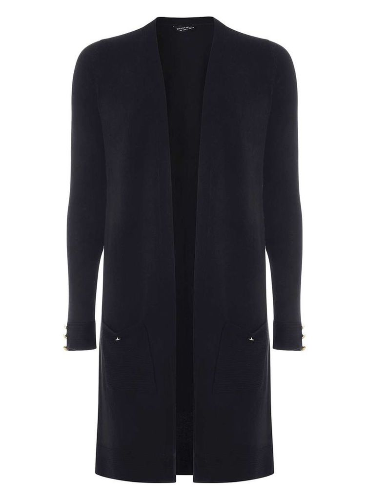 Womens Navy Longline Cardigan- Blue