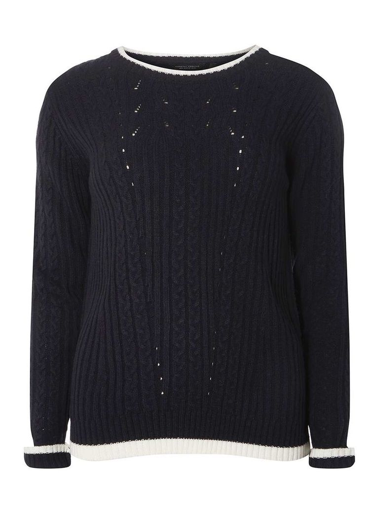 Womens Navy Tipped Cable Jumper- Blue