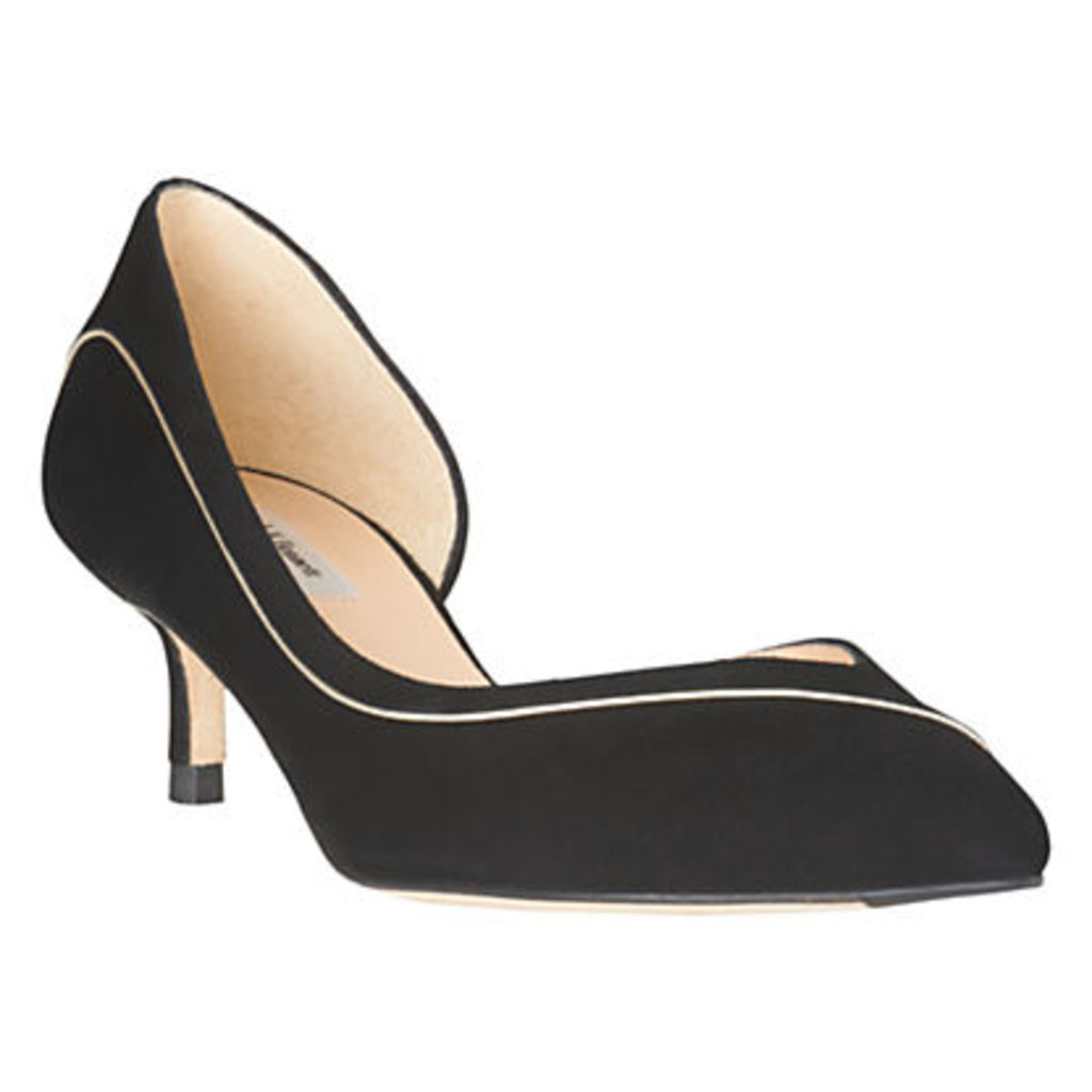 L.K.Bennett Layla Kitten Heel Court Shoes, Black/Soft Gold Suede