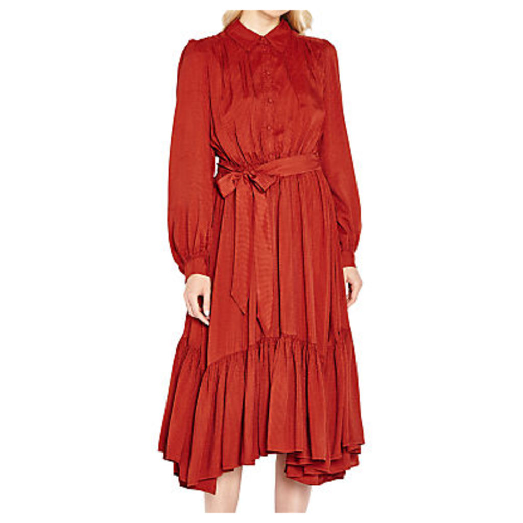 Ghost Luna Long Sleeve Dress, Russet