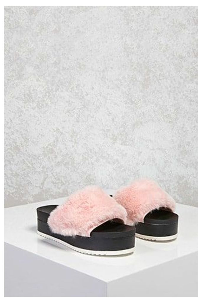 Faux Fur Platform Slide Sandals