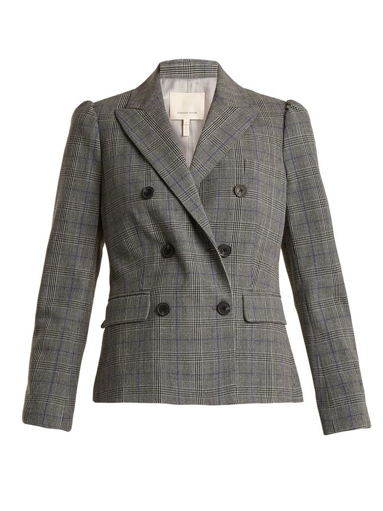 Rebecca Taylor - Double Breasted Checked Jacket - Womens - Grey Multi