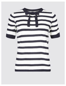 Classic Striped Bow Detail Round Neck Jumper