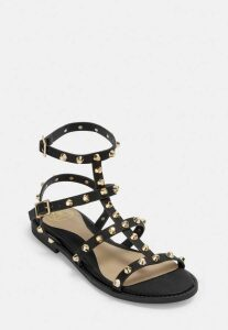Black Studded Gladiator Sandals, Black