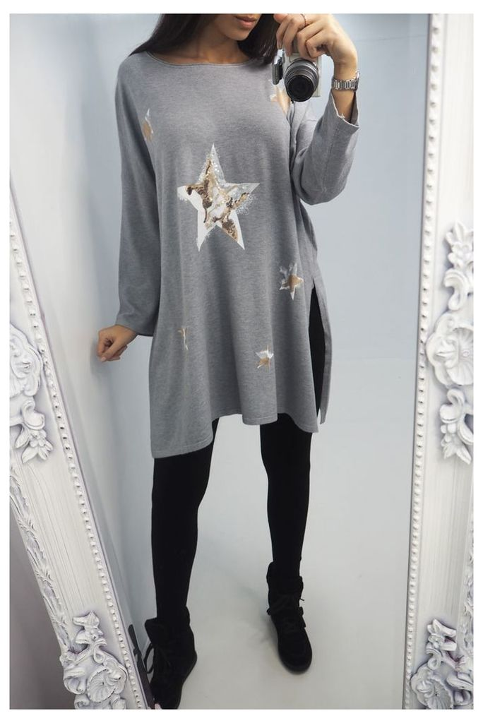 Jackie Sequin Star Oversized Knitted Jumper