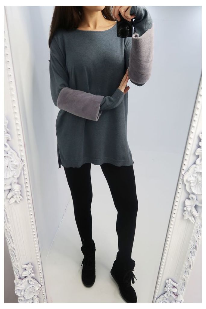 Patricia Faux Fur Sleeve Knitted Jumper