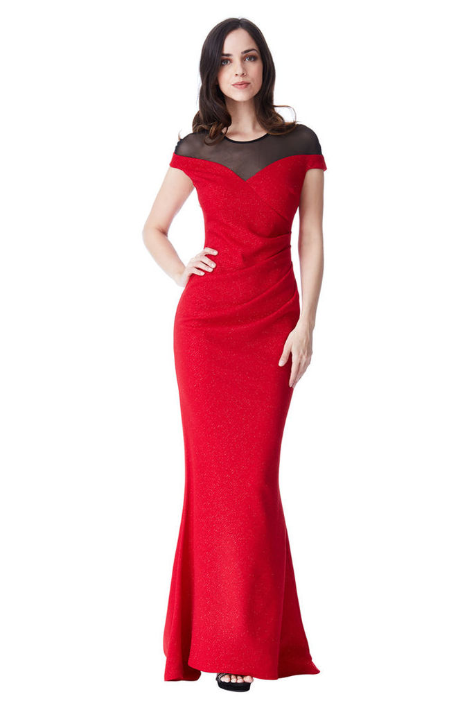 Pleated Glitter Maxi Dress with Mesh Detail - Red
