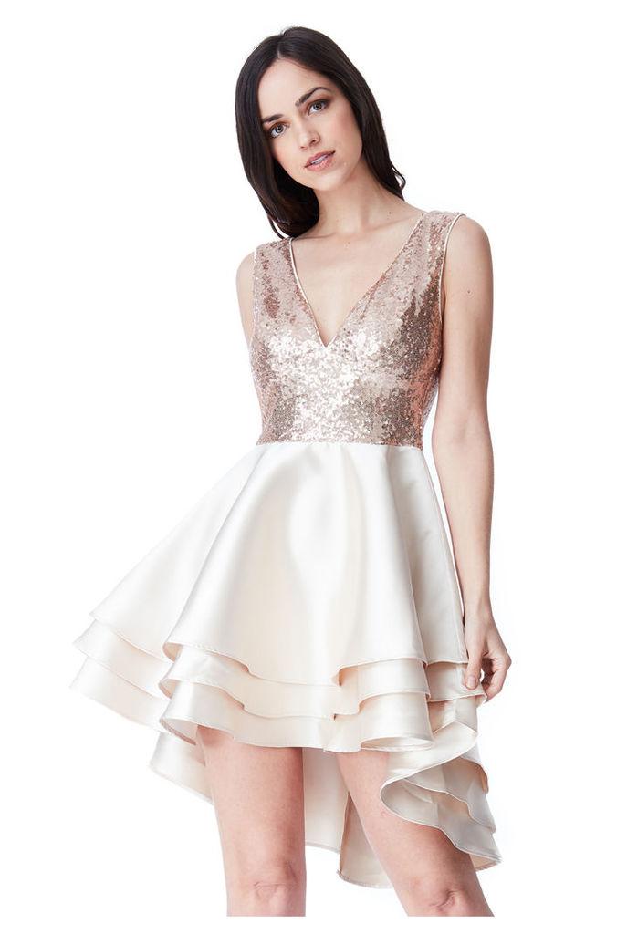 Multilayered Sequin and Satin Skater Dress - Champagne