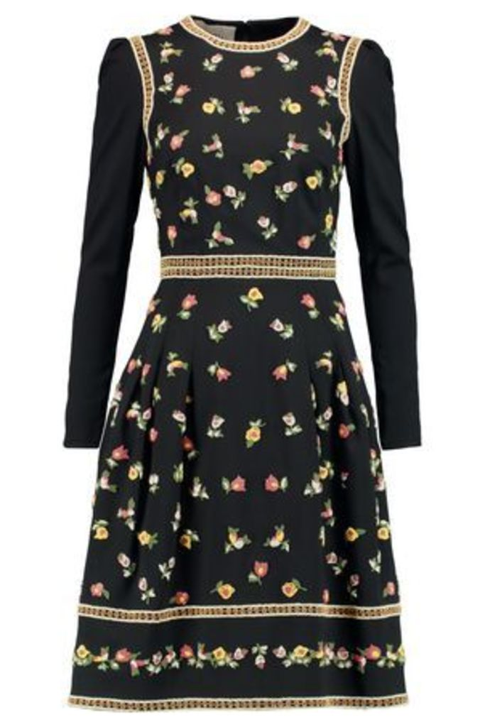 Valentino Woman Embroidered Stretch-wool Dress Black Size 38