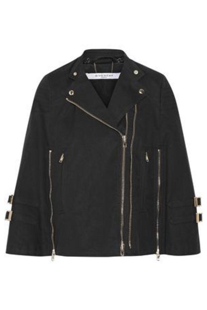 Givenchy Woman Washed Cotton-blend Canvas Cape Black Size 38