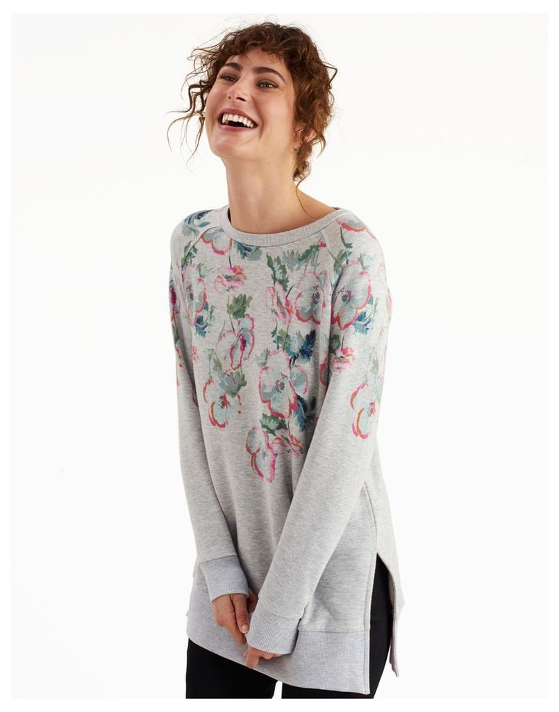 Grey Marl Poppy Lauralie Printed Sweatshirt  Size 8 | Joules UK