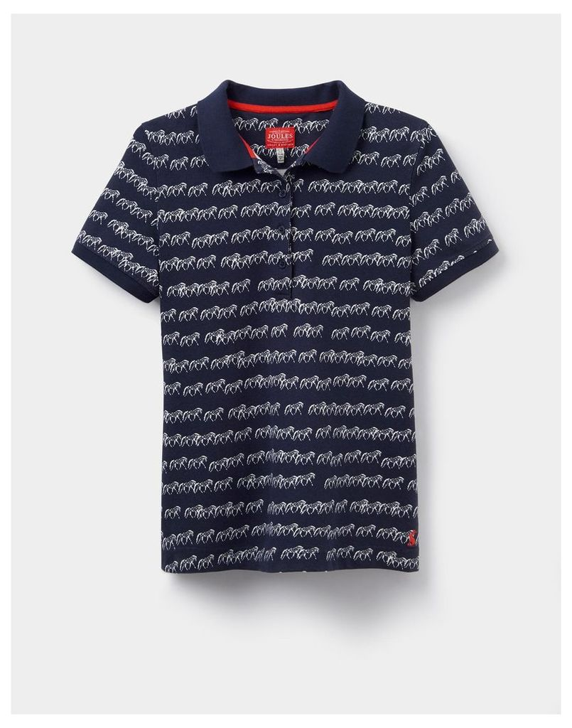 French Navy Horse Trinity Printed Polo Shirt  Size 14 | Joules UK