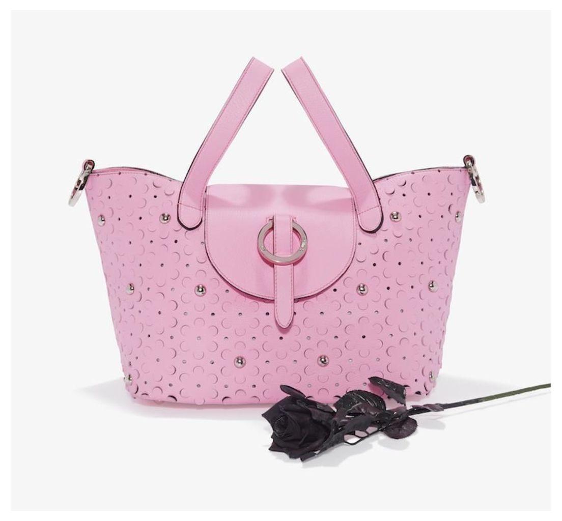Rose Thela Medium Tote Bag Peony Pink Daisy Laser