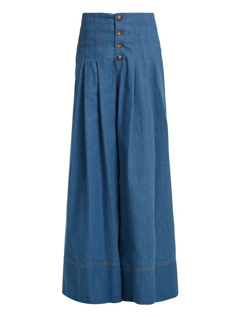 Contoured wide-leg denim trousers