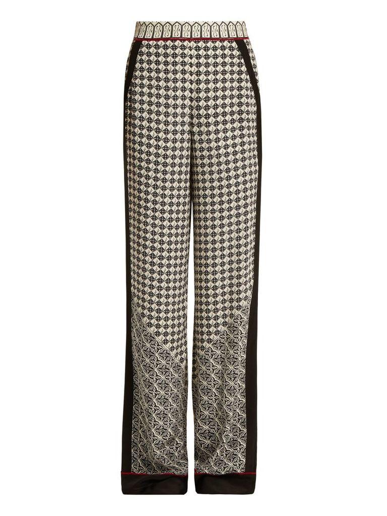 Wide-leg scarf-print silk trousers