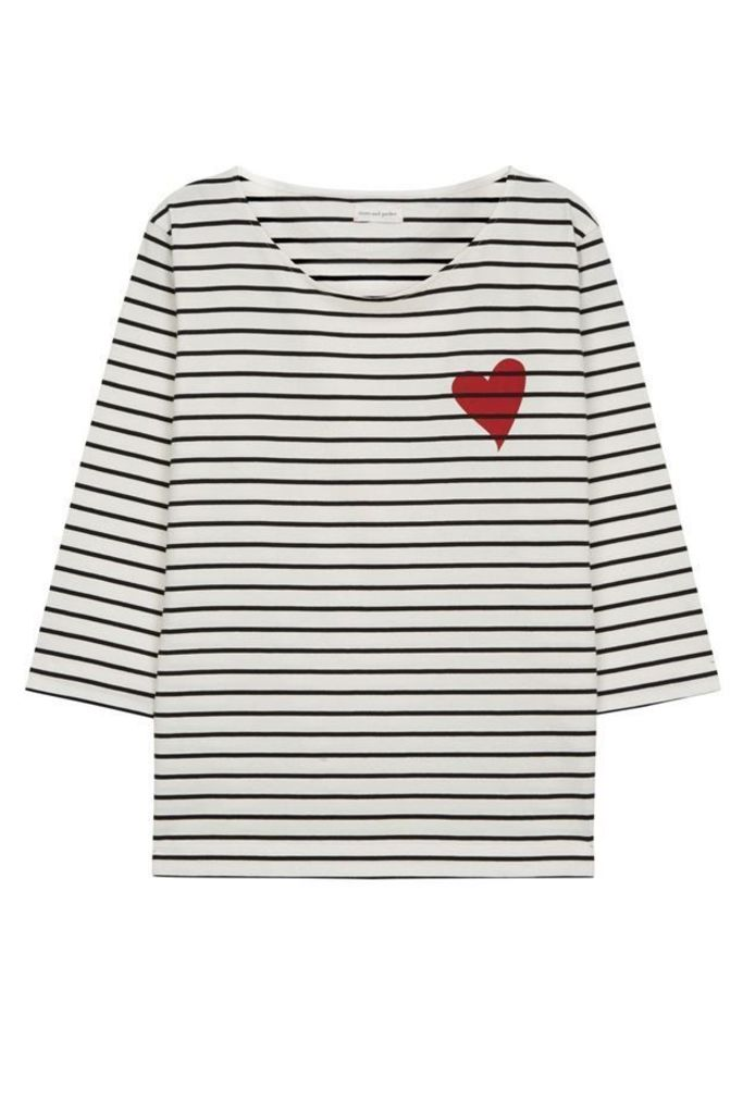 Striped Heart Breton T Shirt Ivory