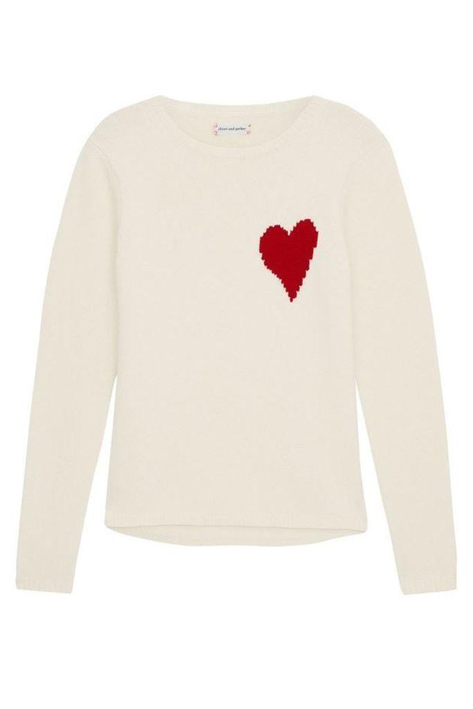 Confetti Heart Sweater Cream