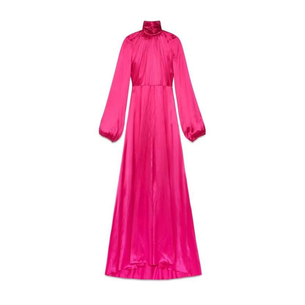 Satin viscose high neck gown