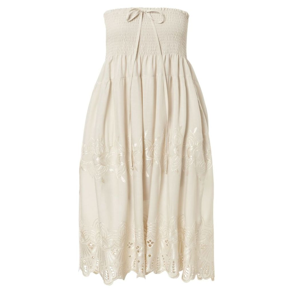 Cream Smock Embroidered 2 in 1 Skirt Dress