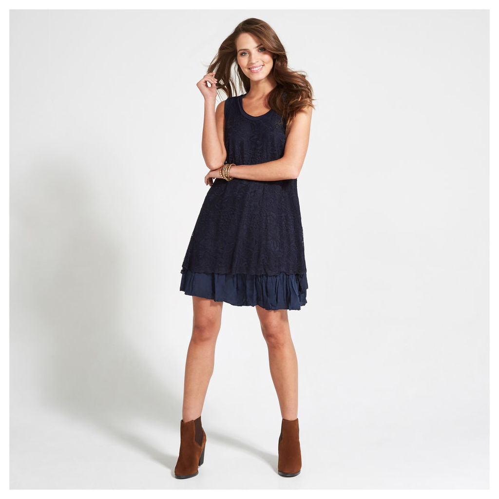 Navy Floral Embroidered Mesh Swing Dress