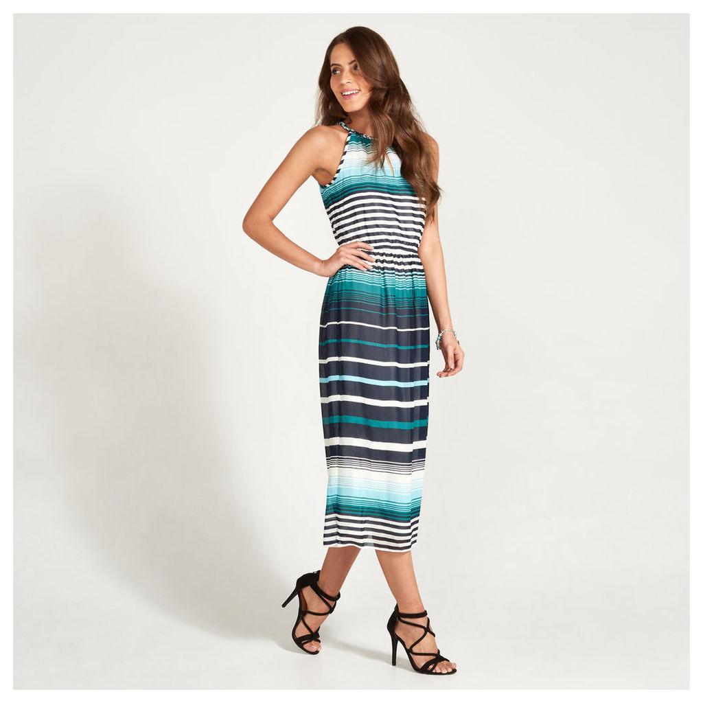 Aqua, Navy & White Ombre Stripe Print Midi Dress