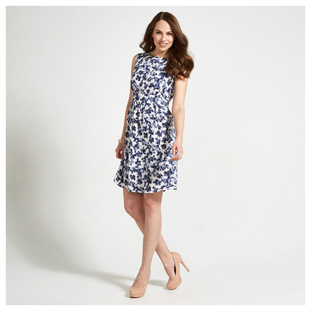 White, Navy & Blue Inky Petal Print Structured Dress