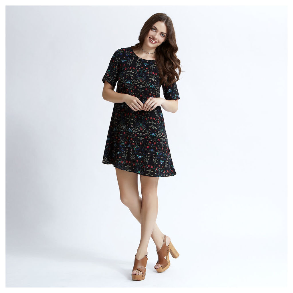 Black Dark Floral Print Swing Dress
