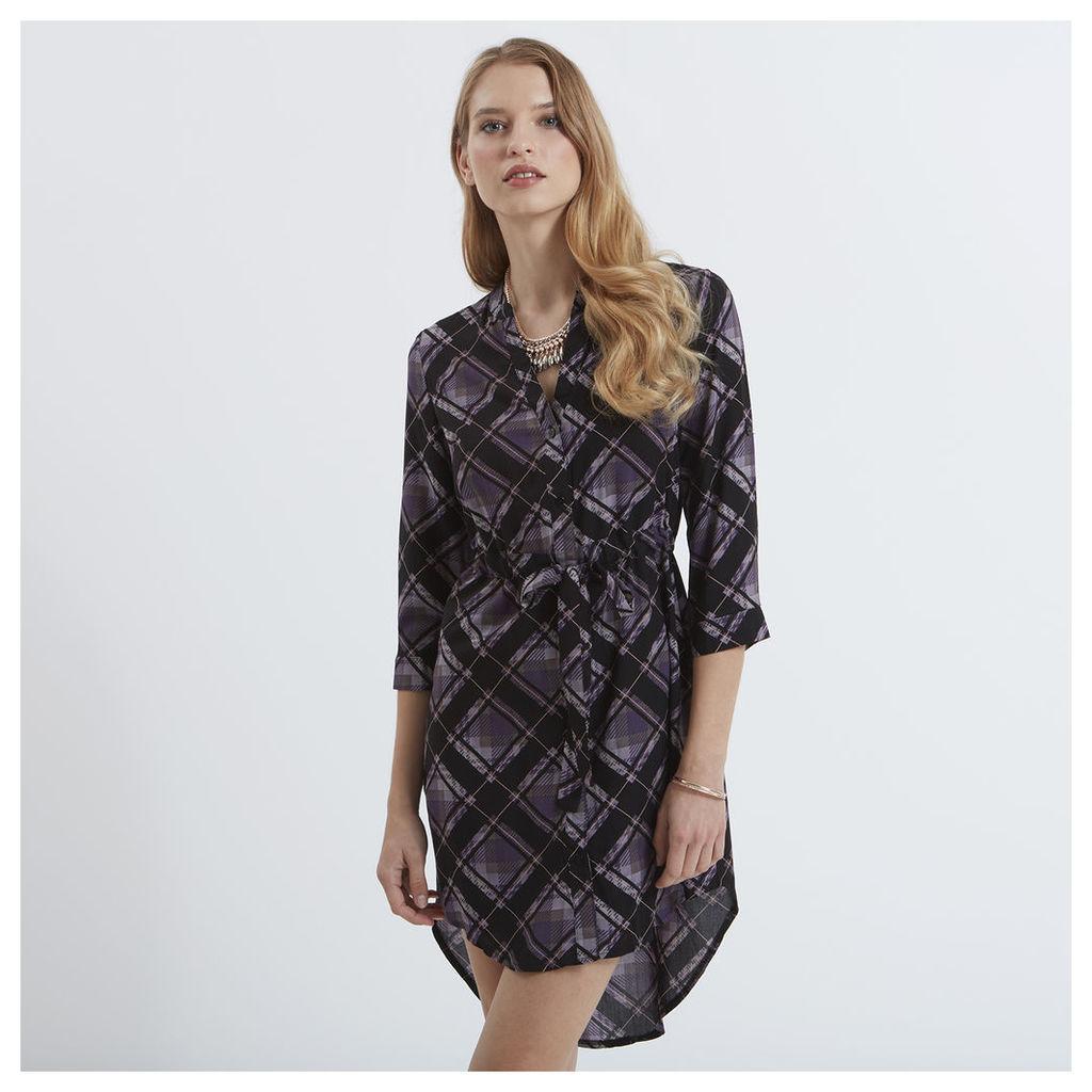 Black&Purple Check Shirt Dress