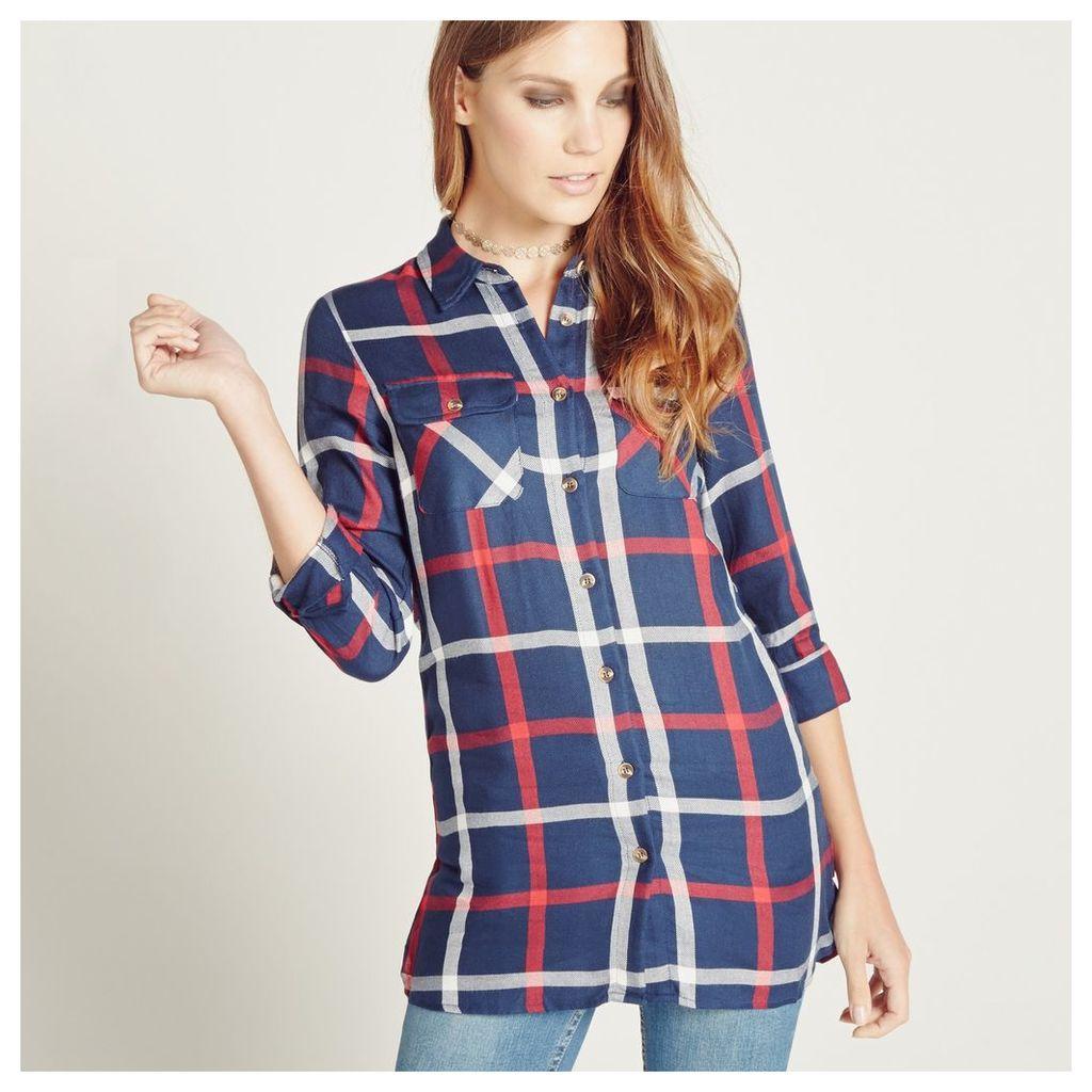 Check Oversize Tunic Shirt