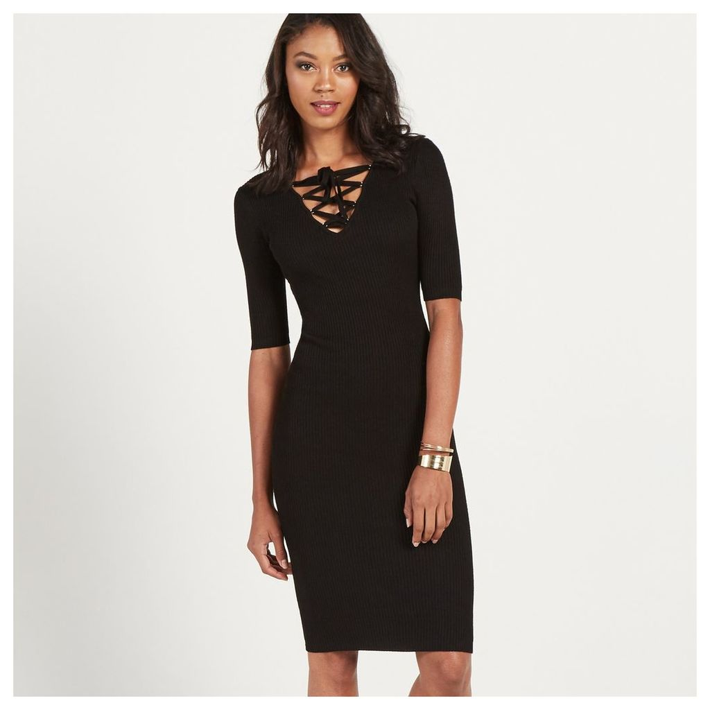 Ribbed Lace Up Bodycon Dress