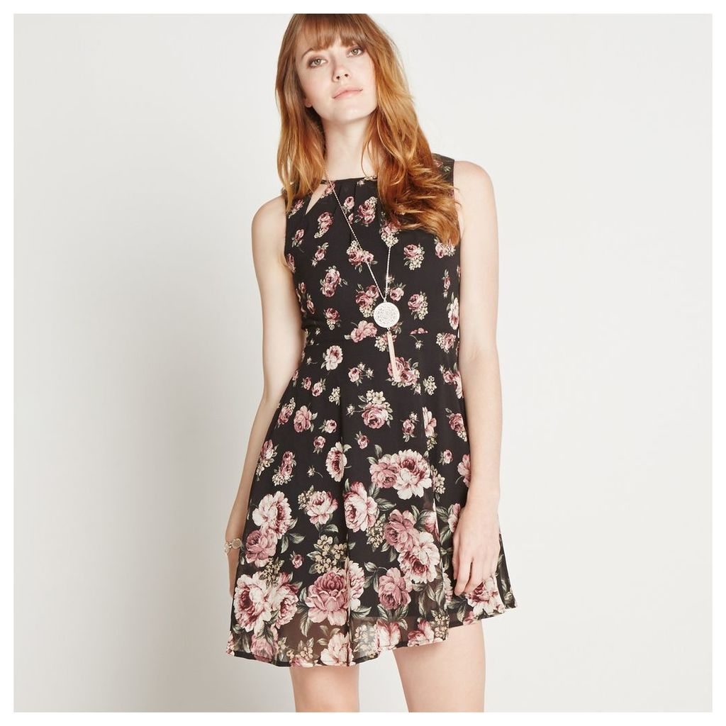 Rose Print Mini Skater Dress