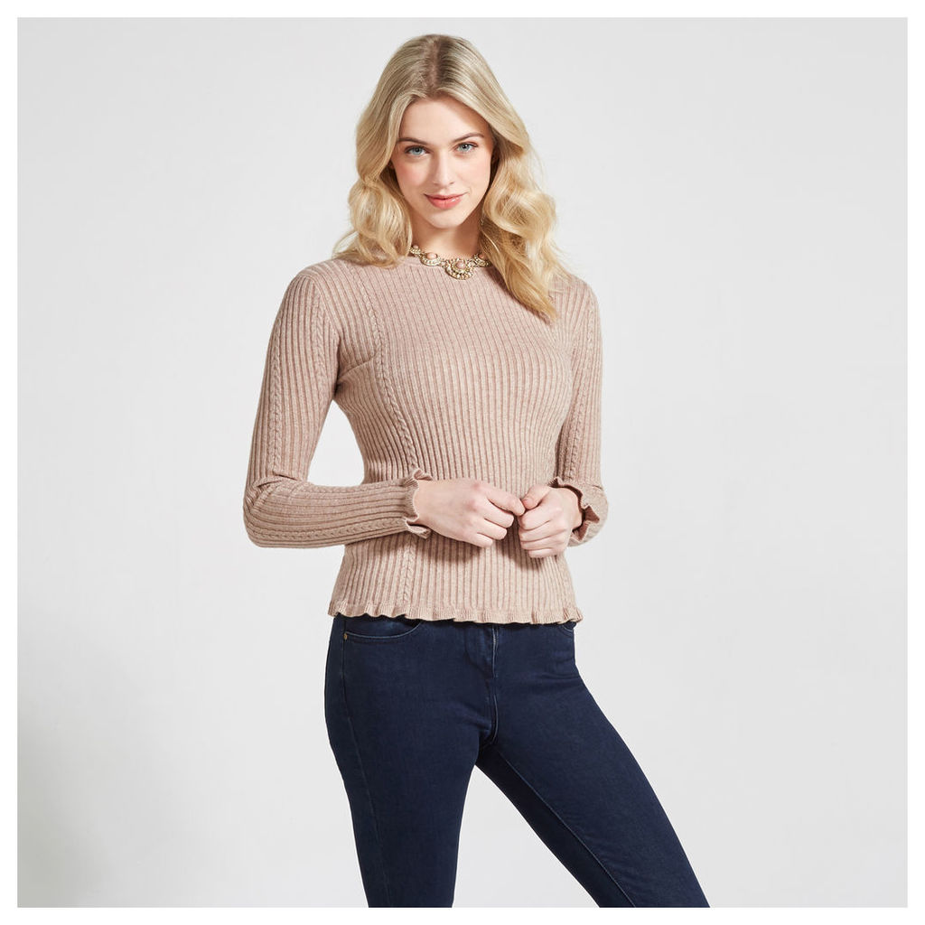 Stone Cable & Ribbed Knit Jumper