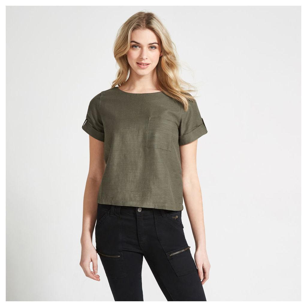 Khaki Textured One Pocket T-Shirt