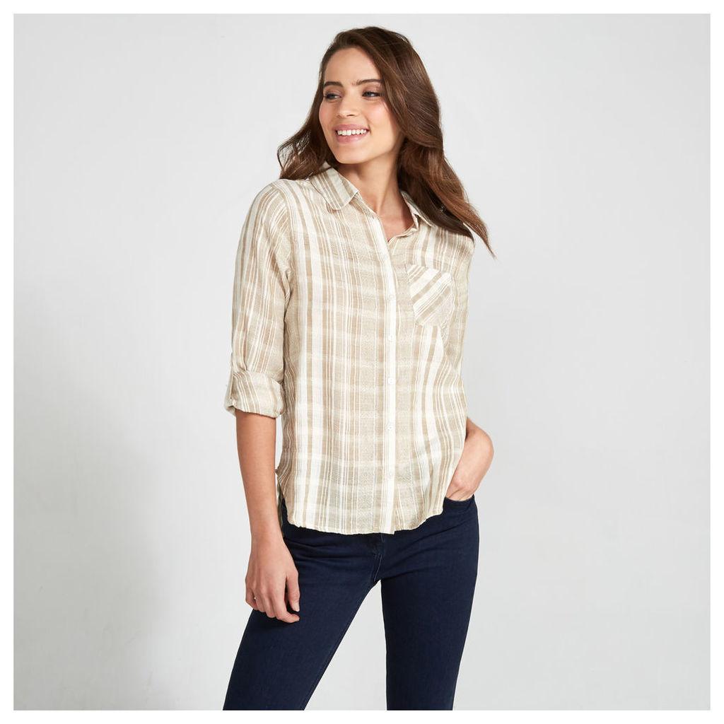 Cream Textured Stripe Print Shirt